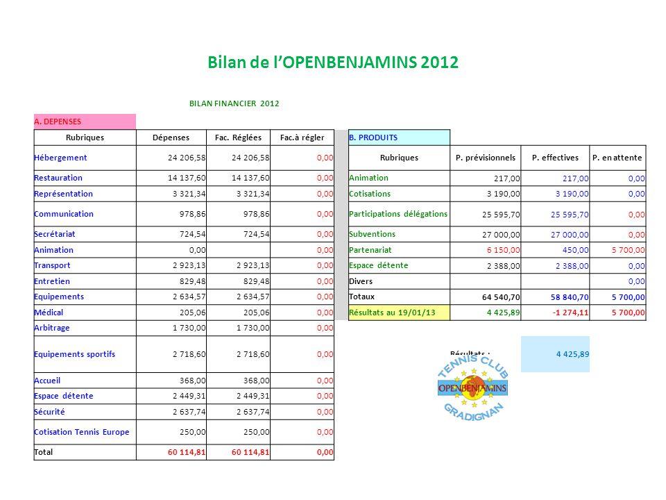 Bilan de l'OPENBENJAMINS 2012