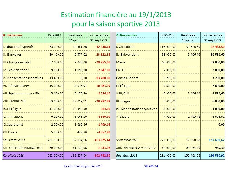 Estimation financière au 19/1/2013 pour la saison sportive 2013