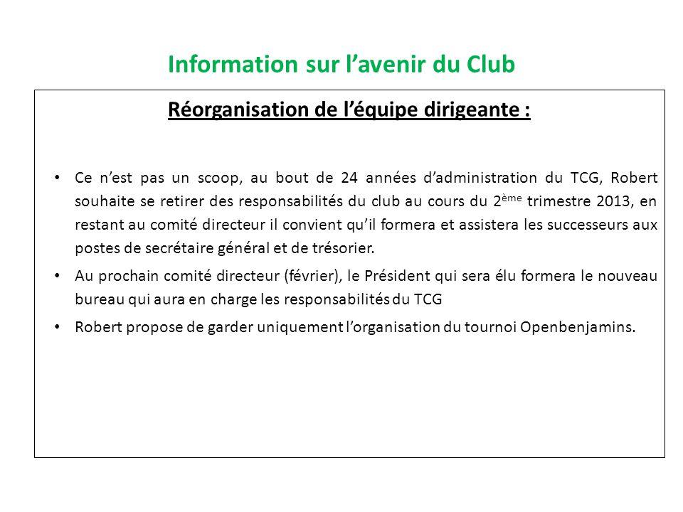Information sur l'avenir du Club
