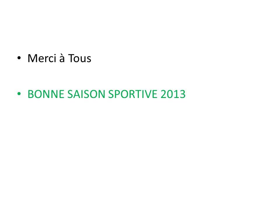 Merci à Tous BONNE SAISON SPORTIVE 2013