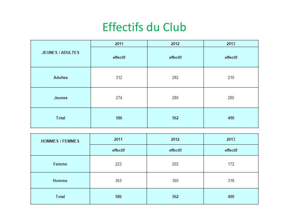 Effectifs du Club JEUNES / ADULTES. 2011. 2012. 2013. effectif. Adultes. 312. 282. 210. Jeunes.