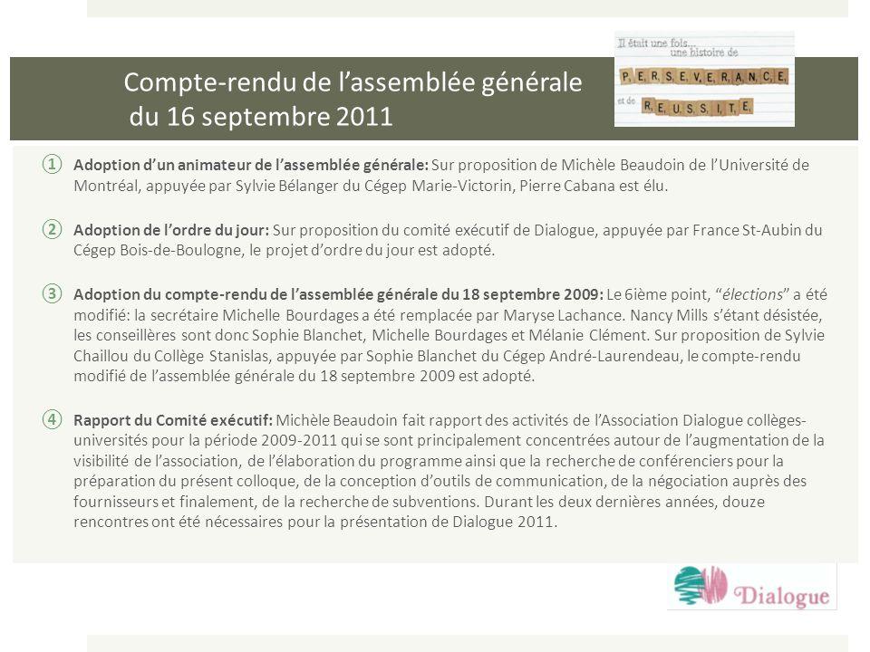 Compte-rendu de l'assemblée générale du 16 septembre 2011