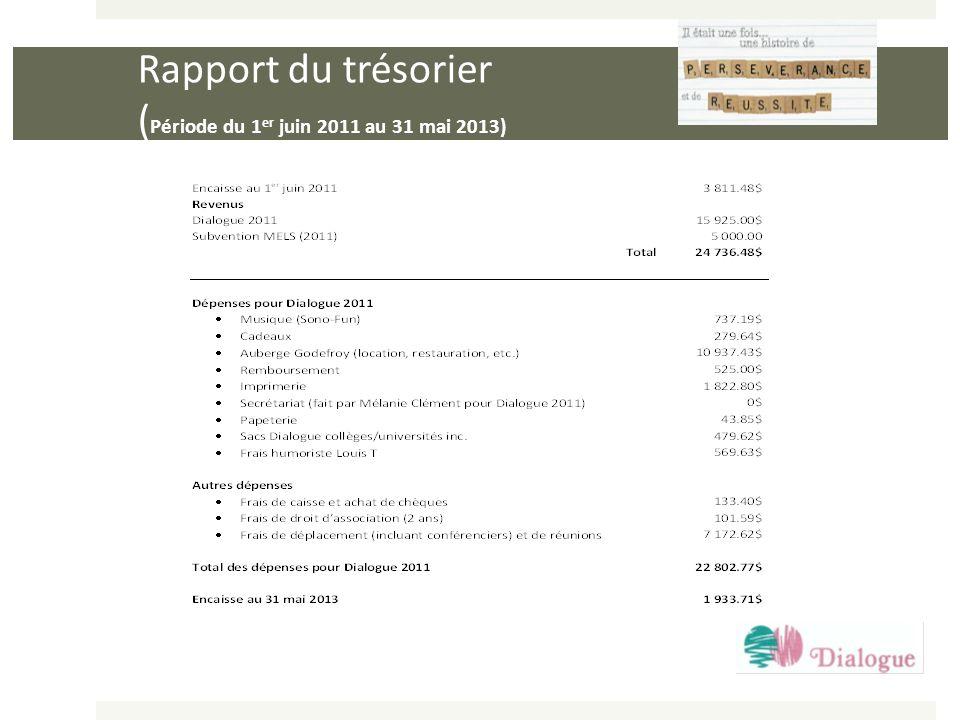 Rapport du trésorier (Période du 1er juin 2011 au 31 mai 2013)