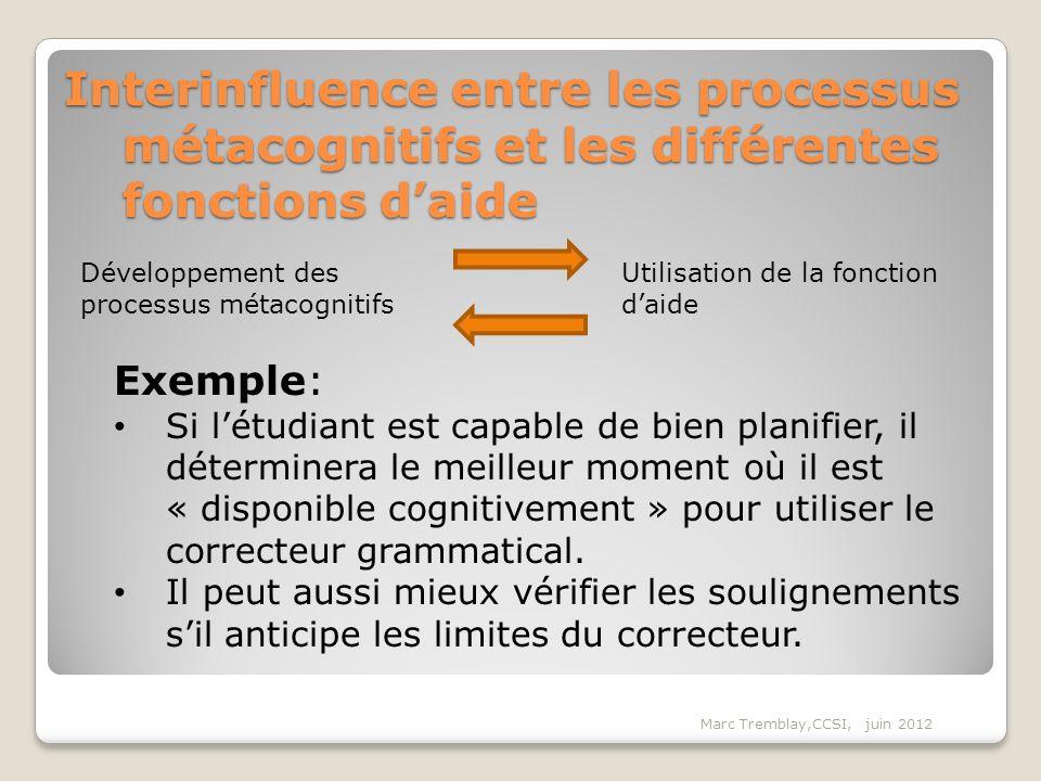 Interinfluence entre les processus métacognitifs et les différentes fonctions d'aide