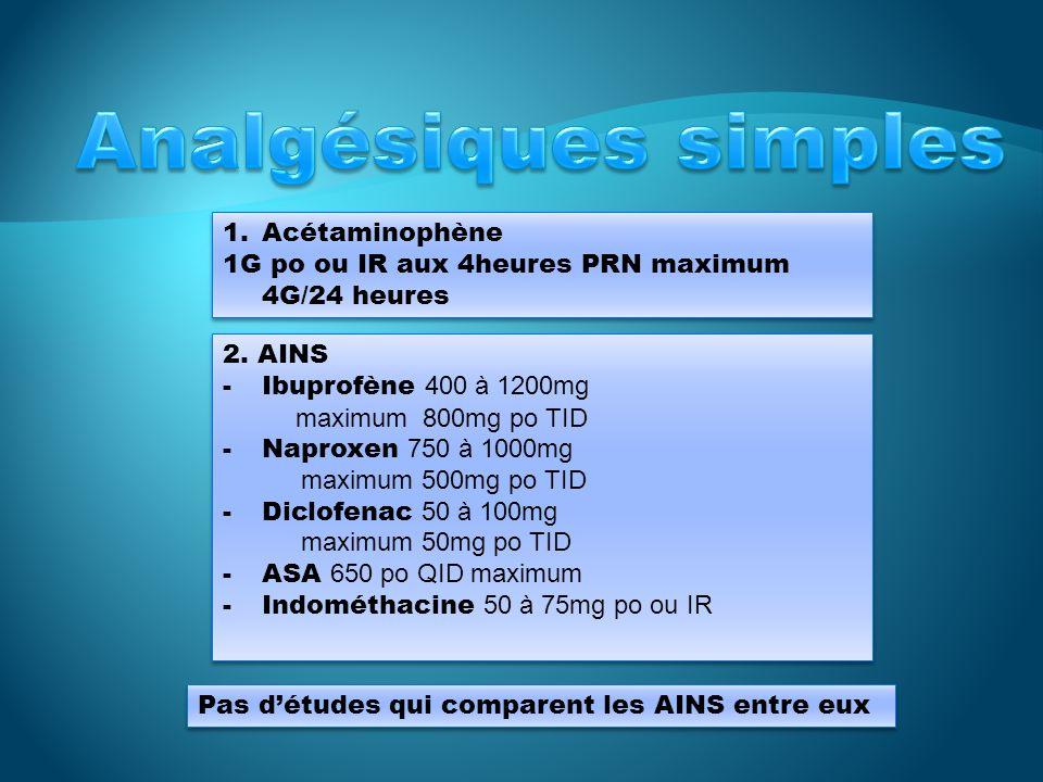 Analgésiques simples Acétaminophène