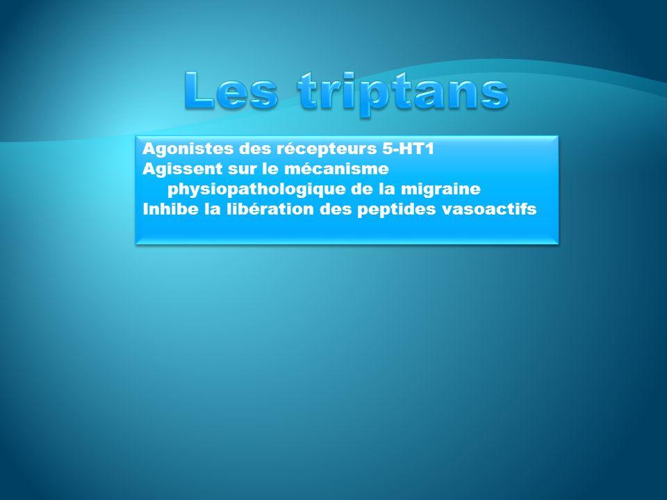 Les triptans Agonistes des récepteurs 5-HT1