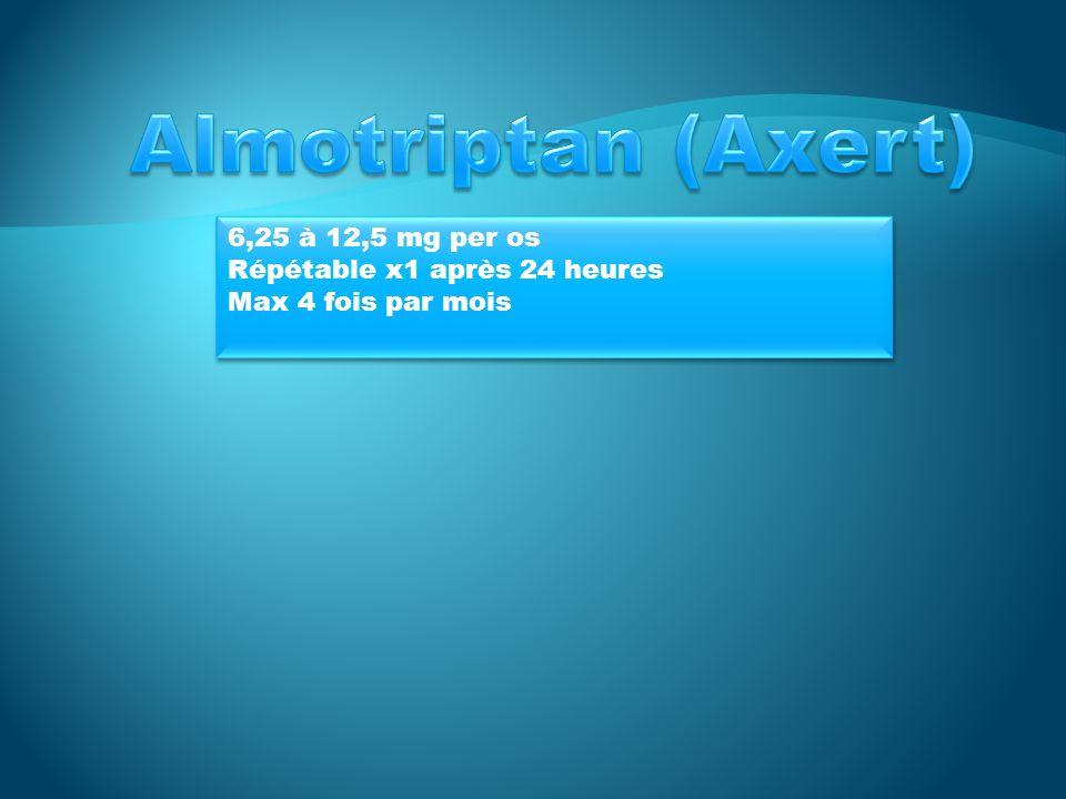 Almotriptan (Axert) 6,25 à 12,5 mg per os Répétable x1 après 24 heures