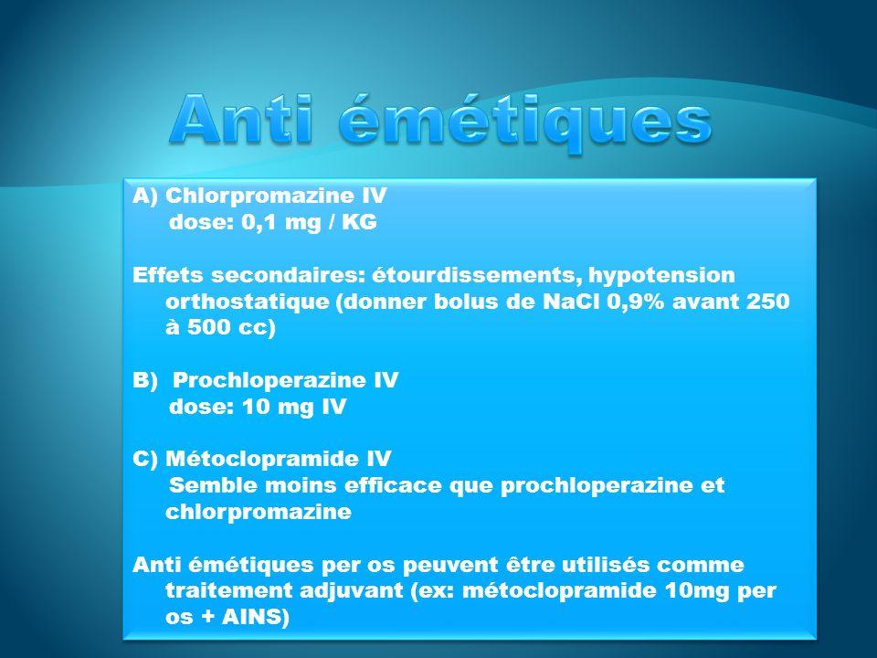 Anti émétiques Chlorpromazine IV dose: 0,1 mg / KG