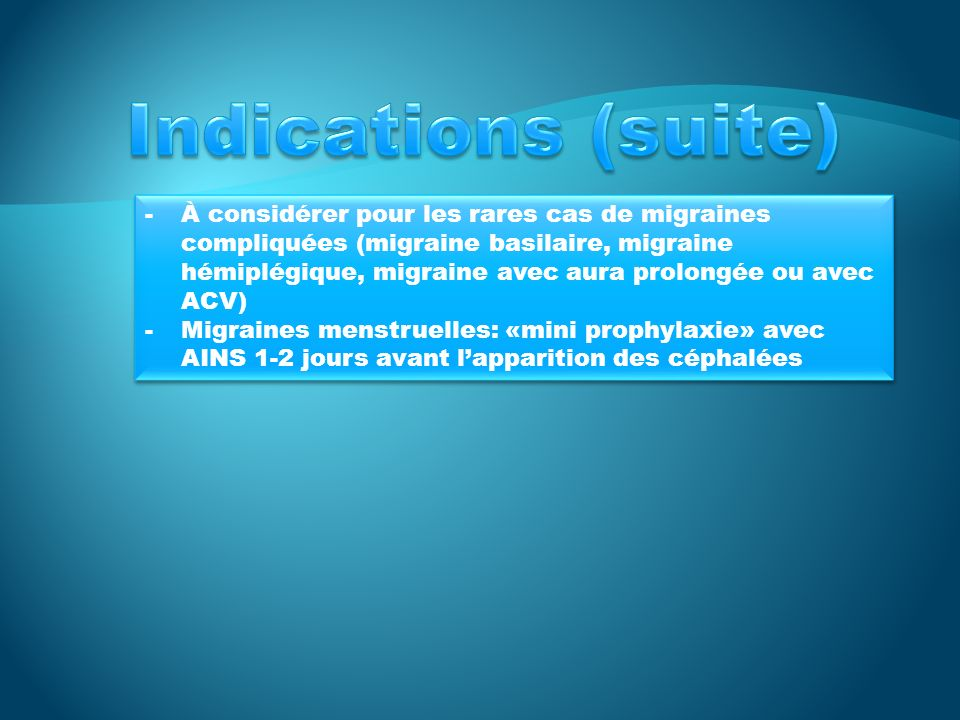 Indications (suite)