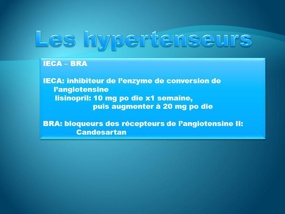 Les hypertenseurs IECA – BRA