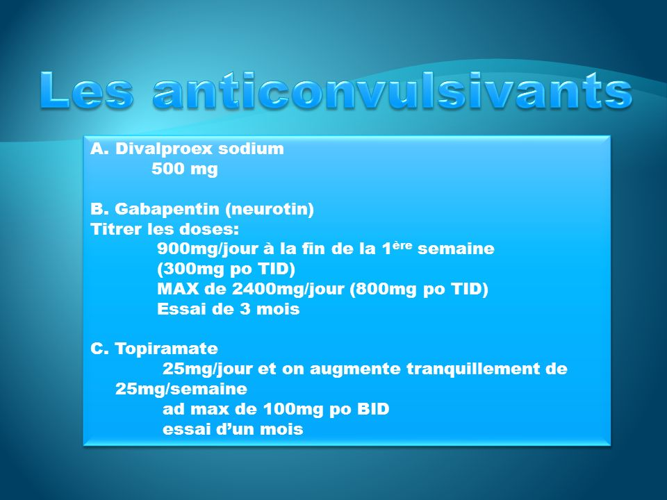 Les anticonvulsivants