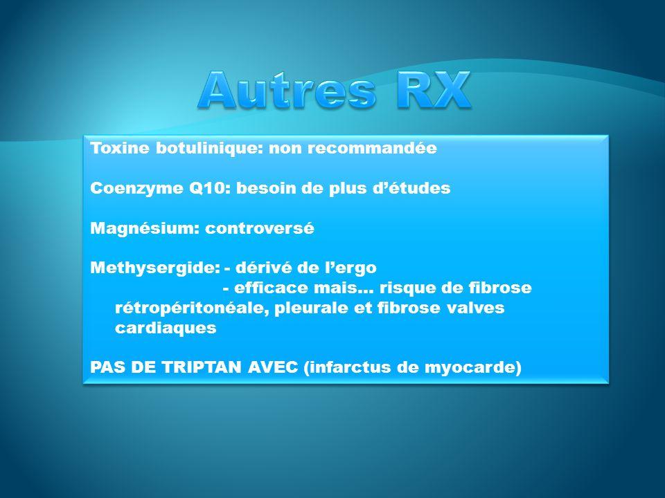 Autres RX Toxine botulinique: non recommandée