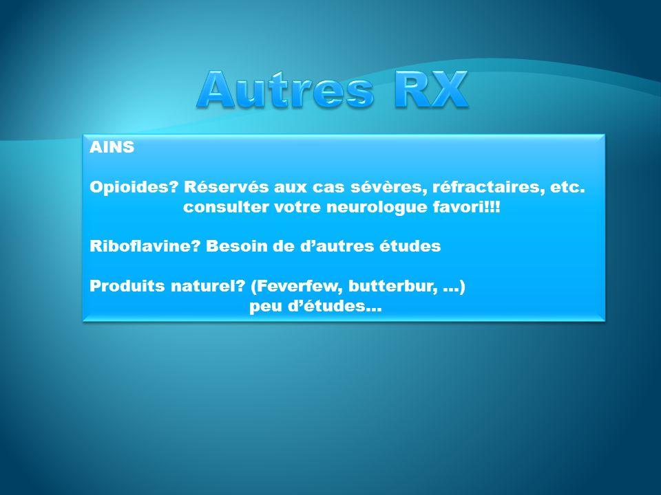 Autres RX AINS Opioides Réservés aux cas sévères, réfractaires, etc.