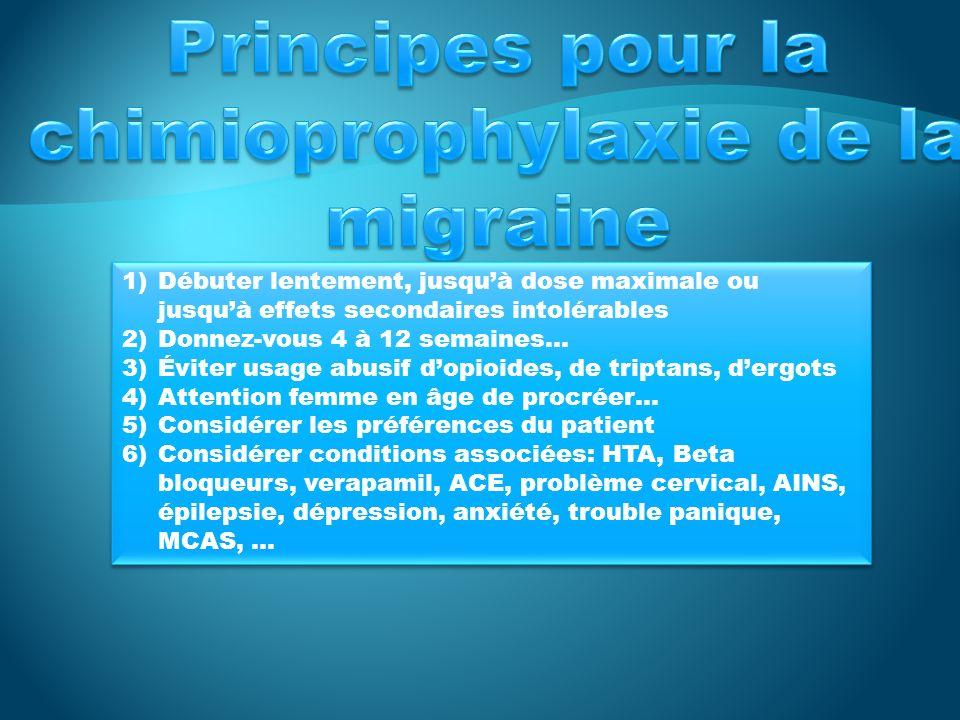 Principes pour la chimioprophylaxie de la migraine