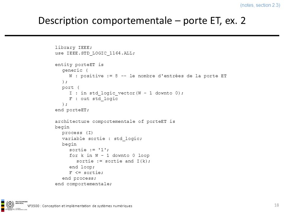Description comportementale – porte ET, ex. 2