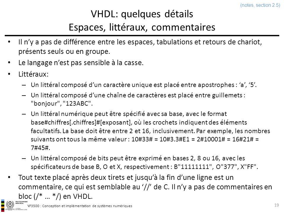 VHDL: quelques détails Espaces, littéraux, commentaires