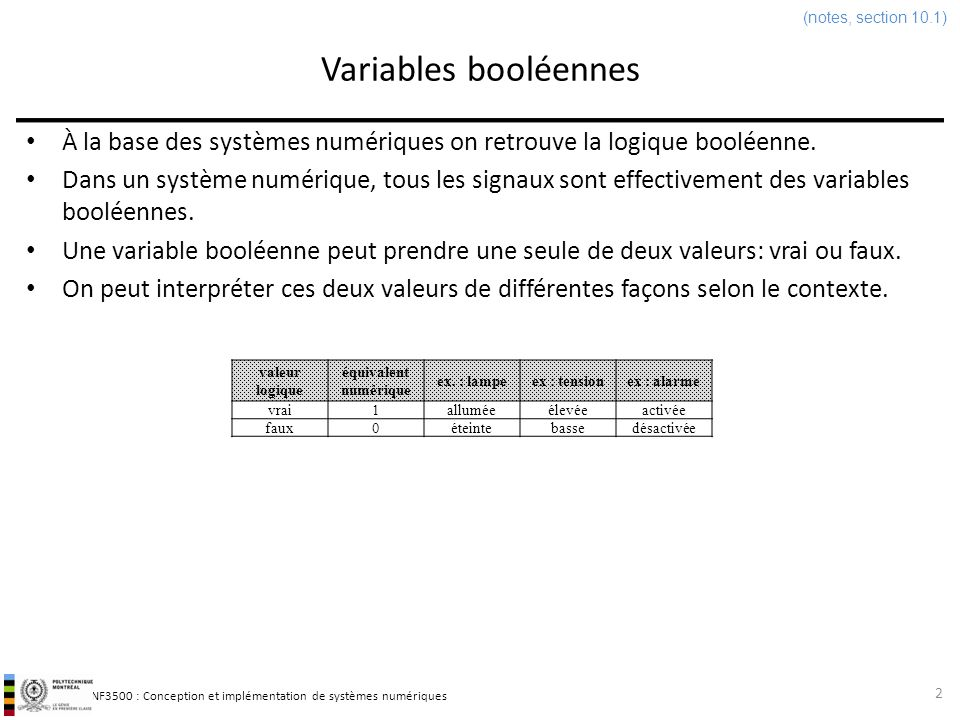 (notes, section 10.1) Variables booléennes. À la base des systèmes numériques on retrouve la logique booléenne.
