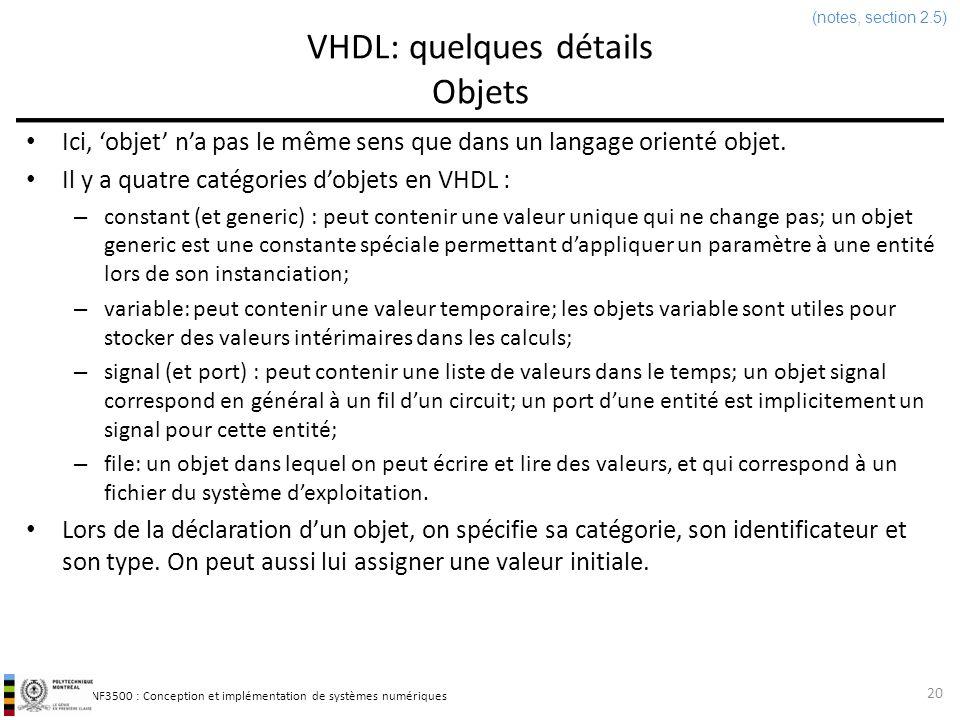 VHDL: quelques détails Objets