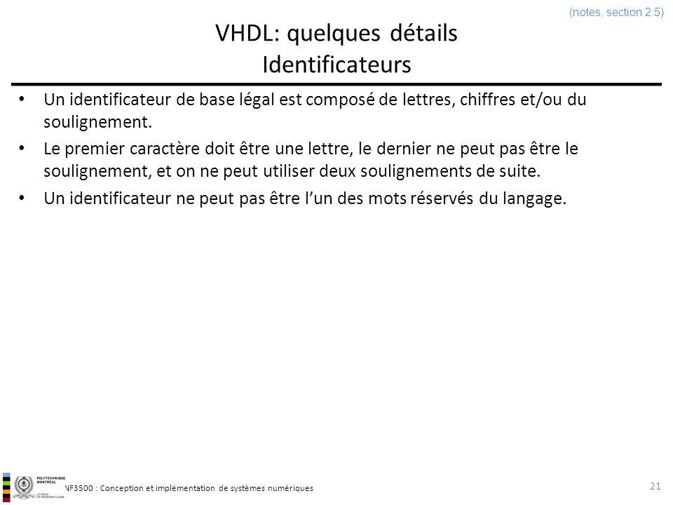 VHDL: quelques détails Identificateurs