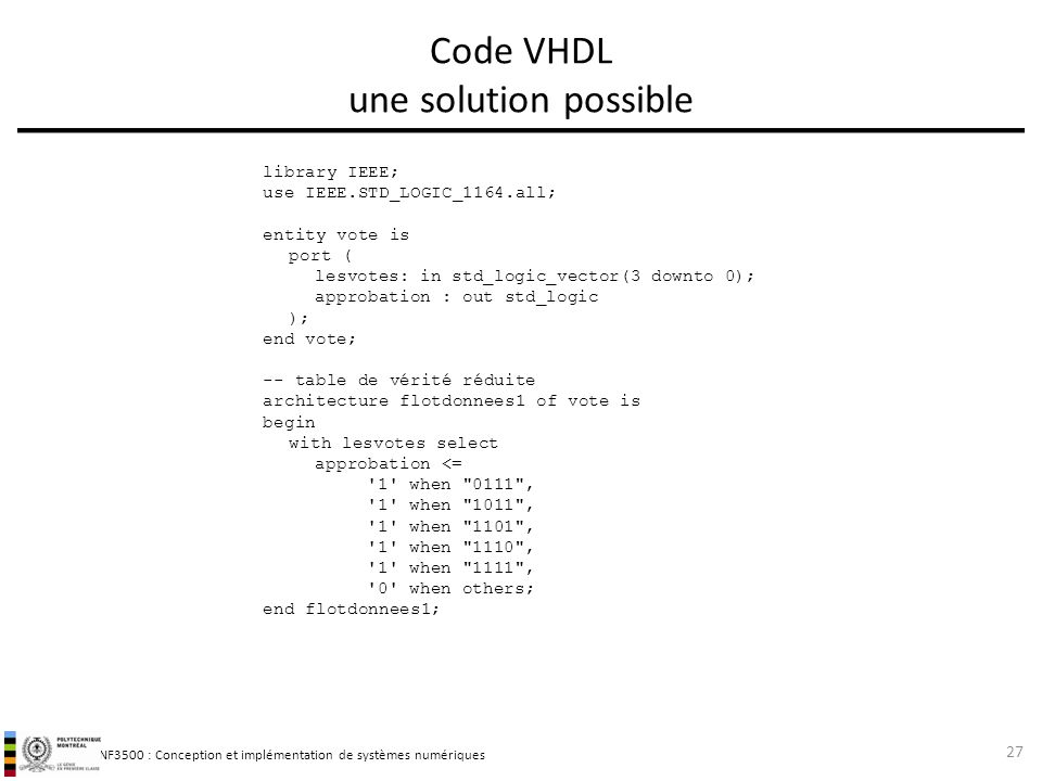 Code VHDL une solution possible