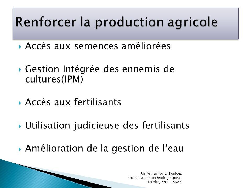 Renforcer la production agricole