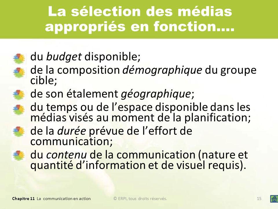 La sélection des médias appropriés en fonction….