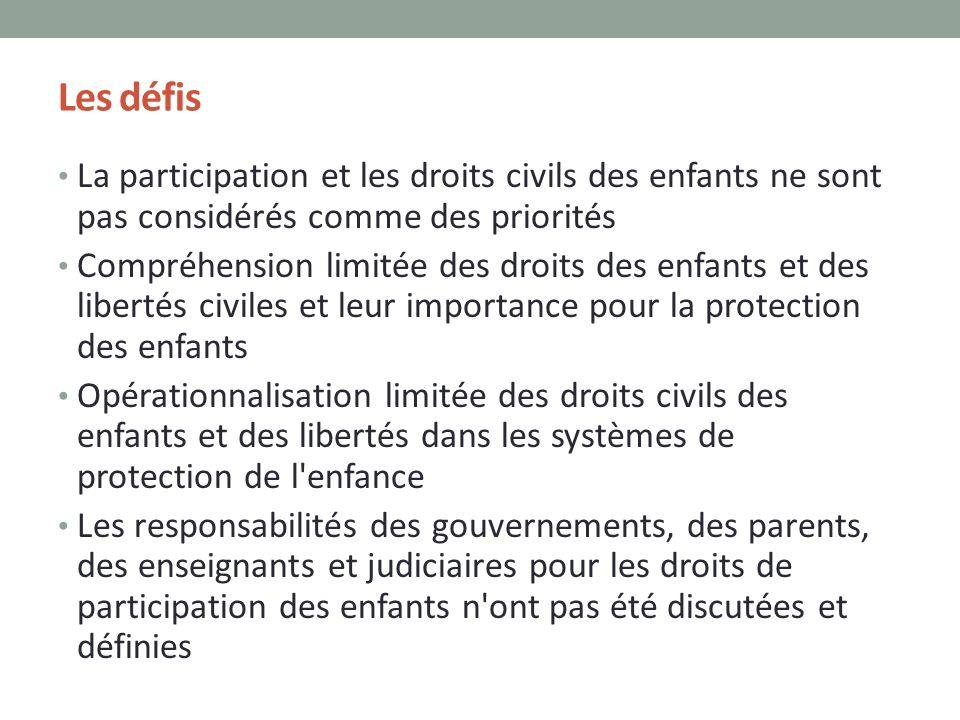 Les défis La participation et les droits civils des enfants ne sont pas considérés comme des priorités.