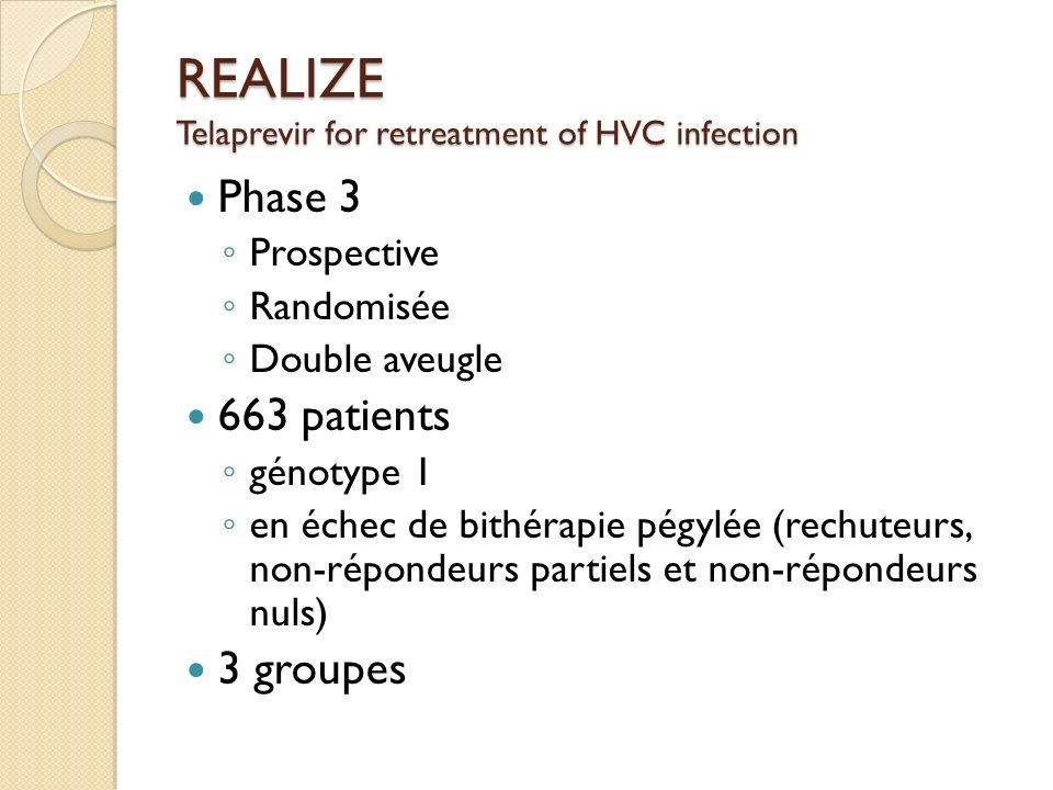 REALIZE Telaprevir for retreatment of HVC infection