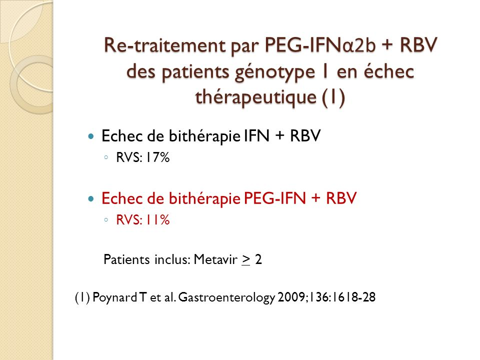 Re-traitement par PEG-IFNα2b + RBV des patients génotype 1 en échec thérapeutique (1)