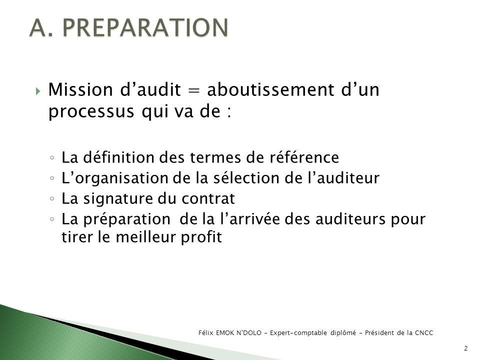 A. PREPARATION Mission d'audit = aboutissement d'un processus qui va de : La définition des termes de référence.