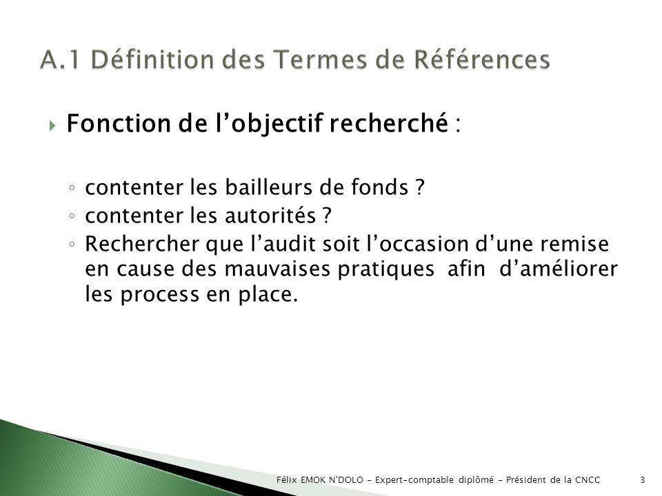 A.1 Définition des Termes de Références