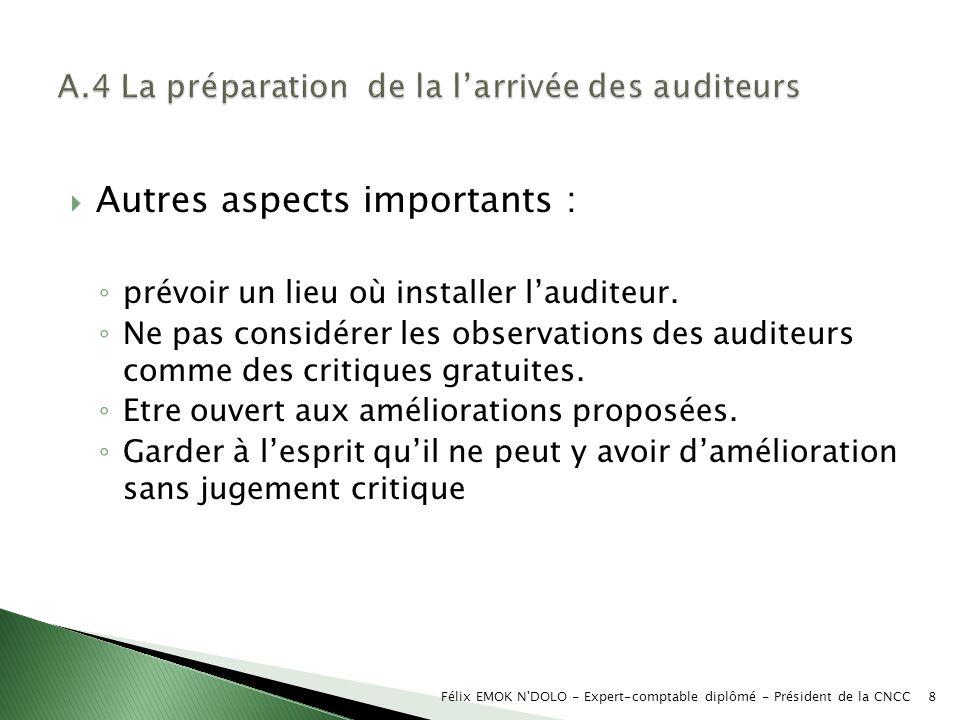 A.4 La préparation de la l'arrivée des auditeurs
