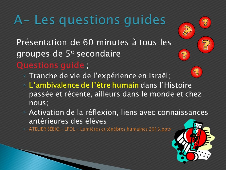 A- Les questions guides