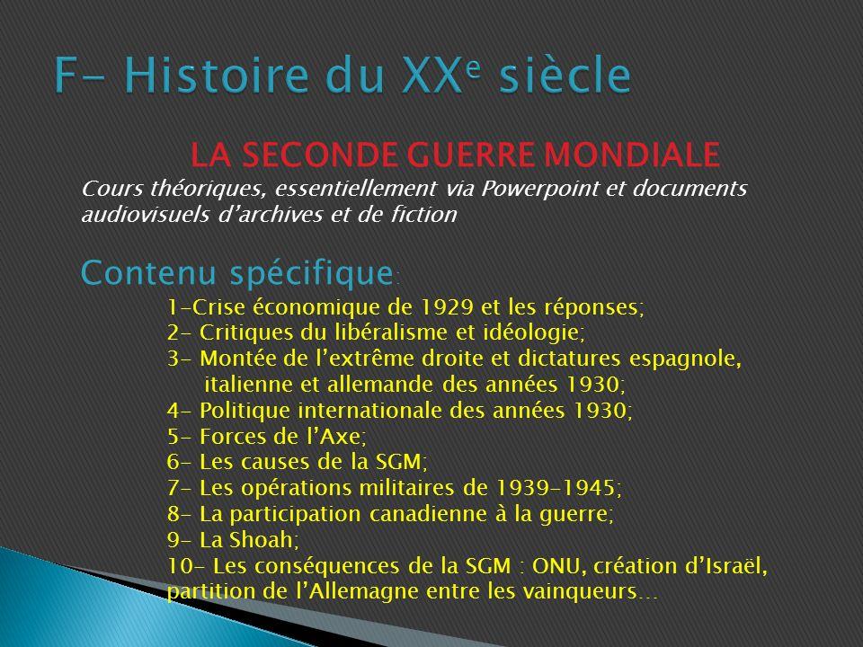 F- Histoire du XXe siècle