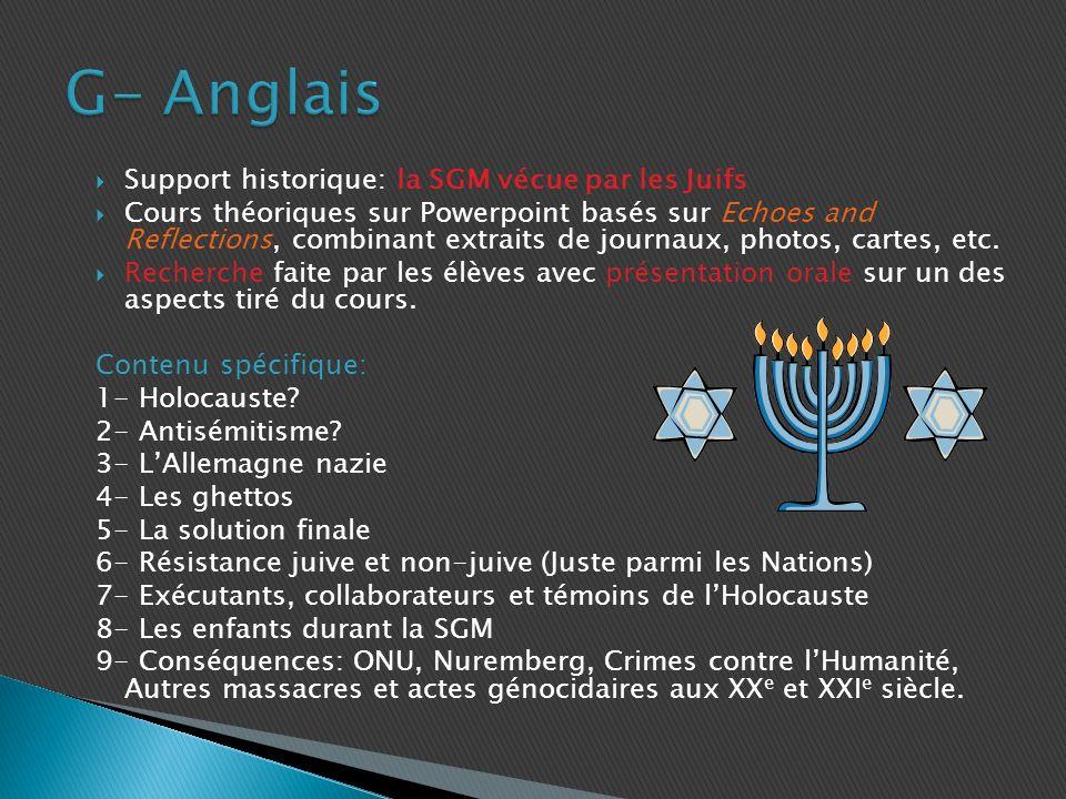 G- Anglais Support historique: la SGM vécue par les Juifs