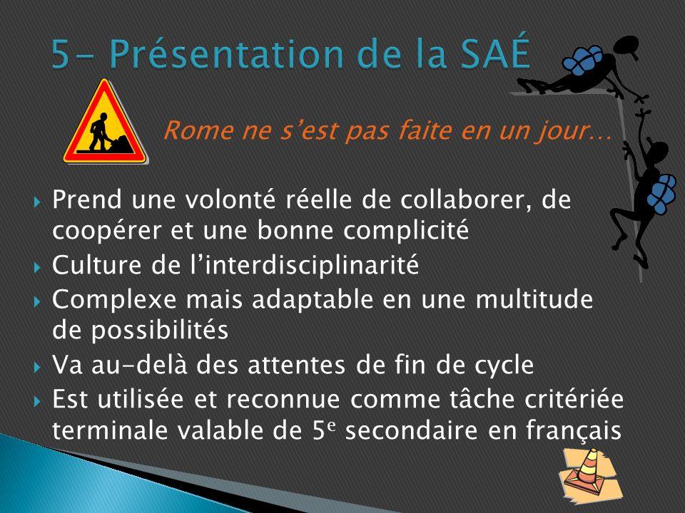 5- Présentation de la SAÉ