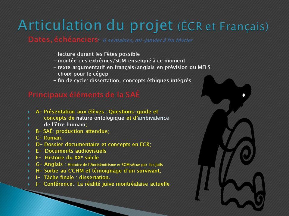 Articulation du projet (ÉCR et Français)