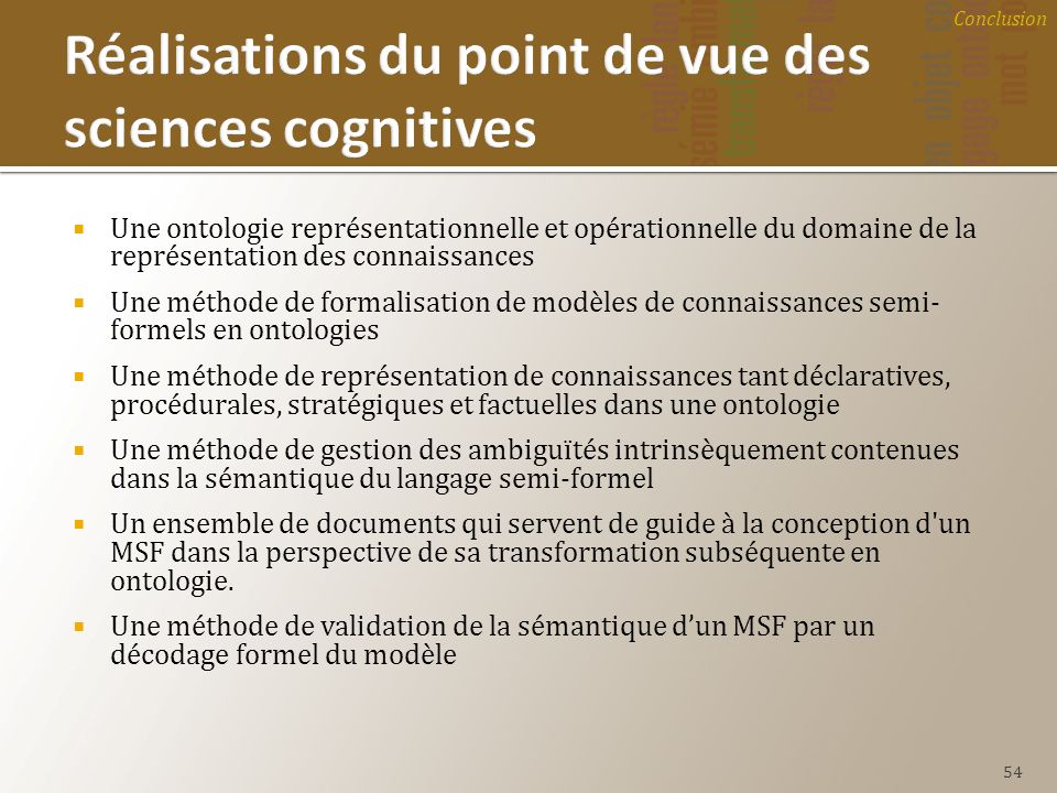 Réalisations du point de vue des sciences cognitives