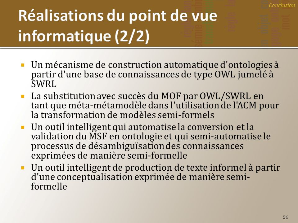 Réalisations du point de vue informatique (2/2)