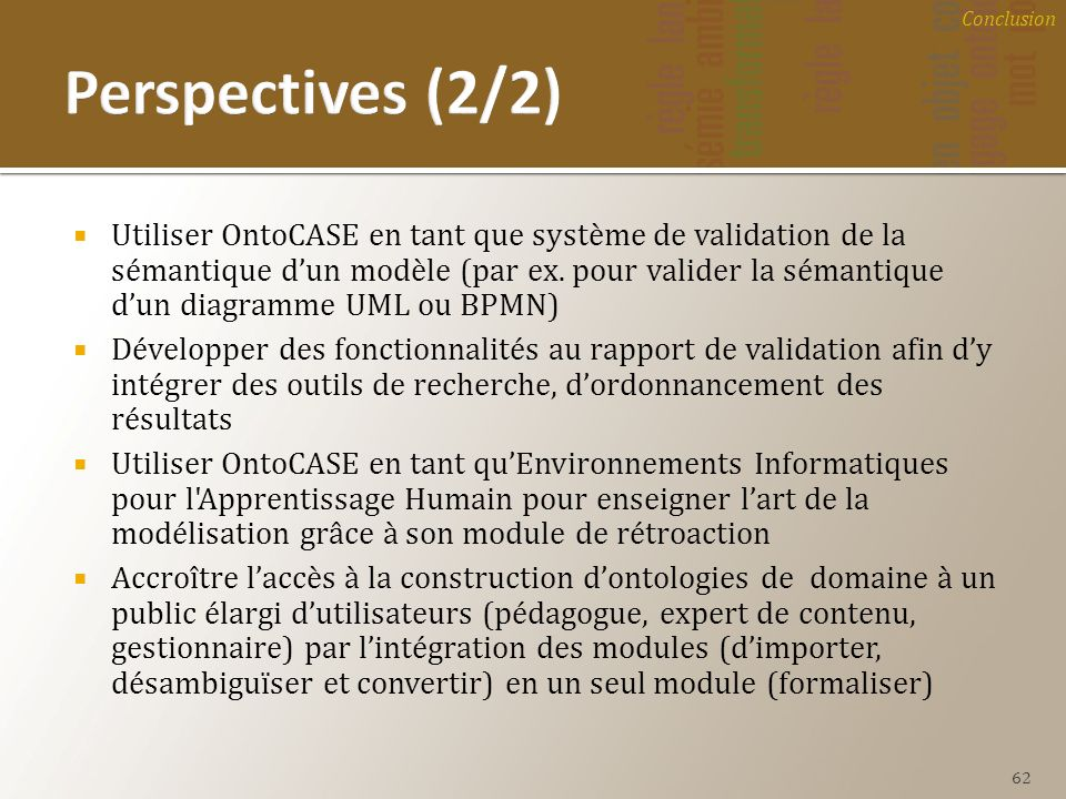 Conclusion Perspectives (2/2)