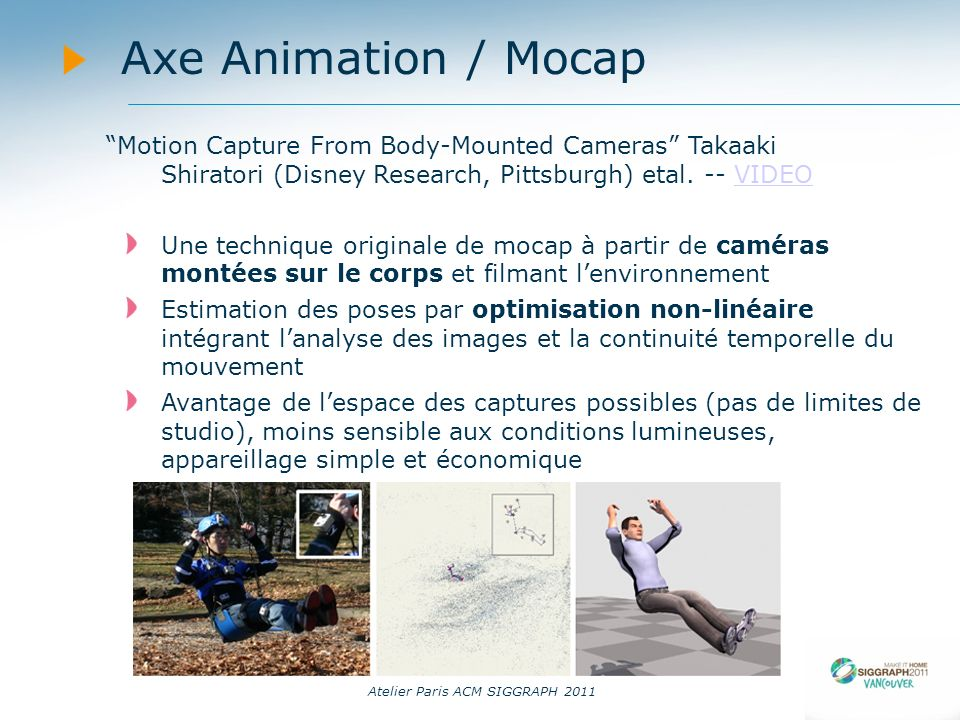 14/09/11 Axe Animation / Mocap. Motion Capture From Body-Mounted Cameras Takaaki Shiratori (Disney Research, Pittsburgh) etal. -- VIDEO.