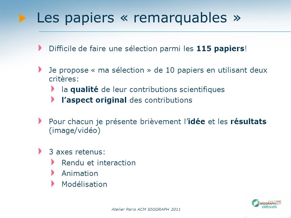 Les papiers « remarquables »