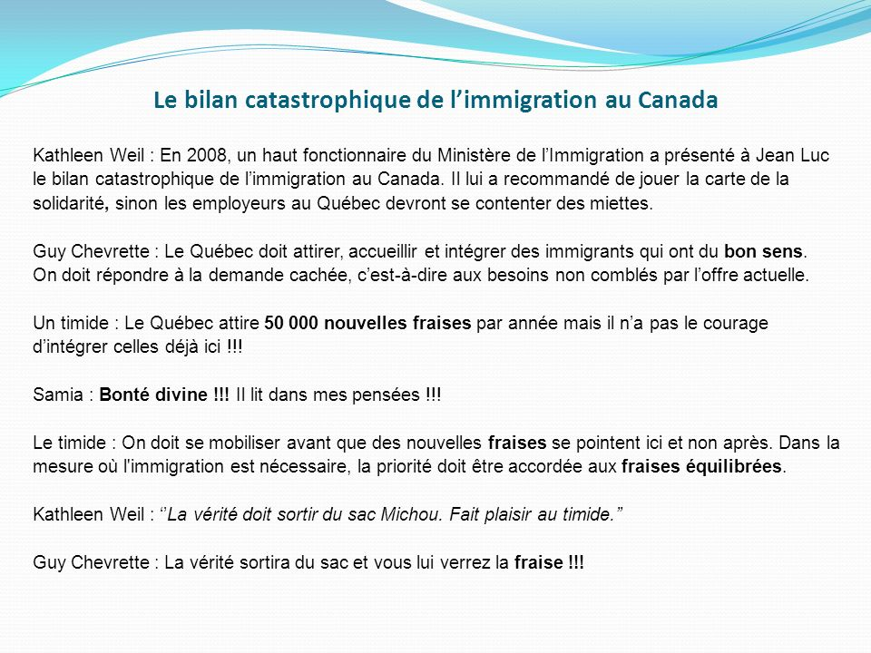 Le bilan catastrophique de l'immigration au Canada