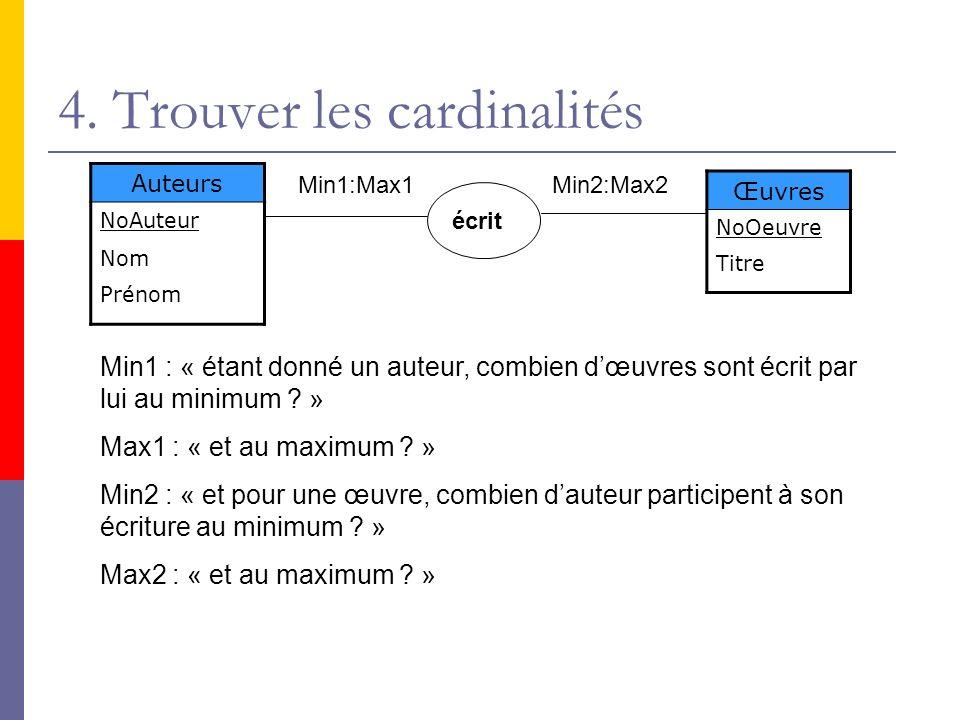 4. Trouver les cardinalités