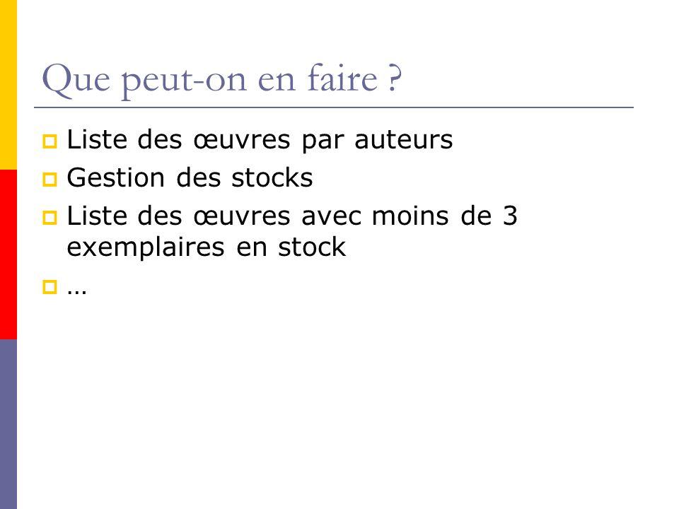 Que peut-on en faire Liste des œuvres par auteurs Gestion des stocks