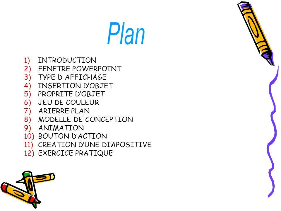 INTRODUCTION FENETRE POWERPOINT. TYPE D AFFICHAGE. INSERTION D'OBJET. PROPRITE D'OBJET. JEU DE COULEUR.