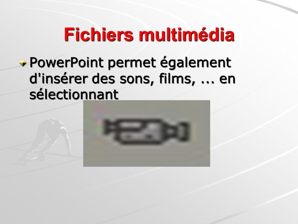 Fichiers multimédia PowerPoint permet également d insérer des sons, films, ... en sélectionnant