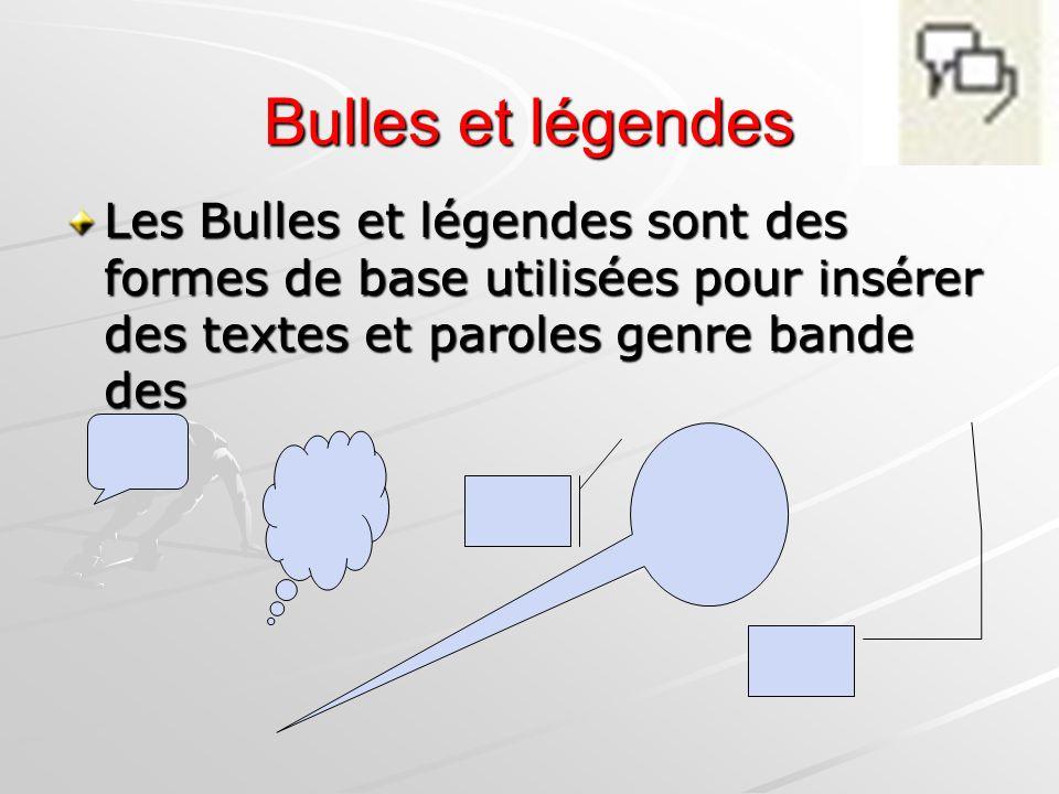 Bulles et légendes Les Bulles et légendes sont des formes de base utilisées pour insérer des textes et paroles genre bande des.