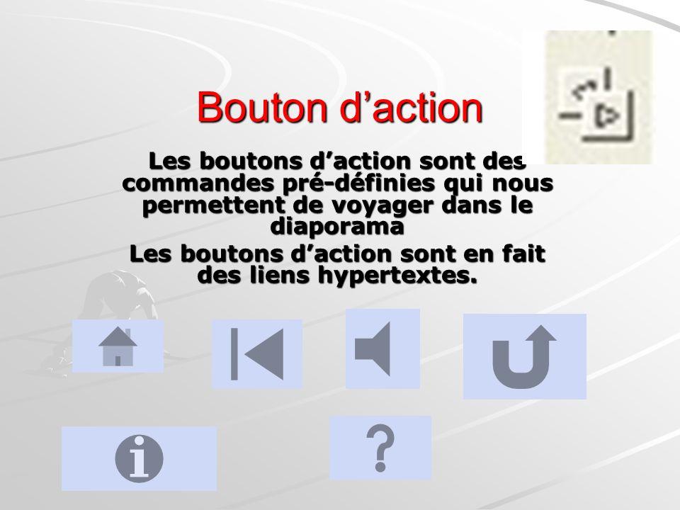 Les boutons d'action sont en fait des liens hypertextes.