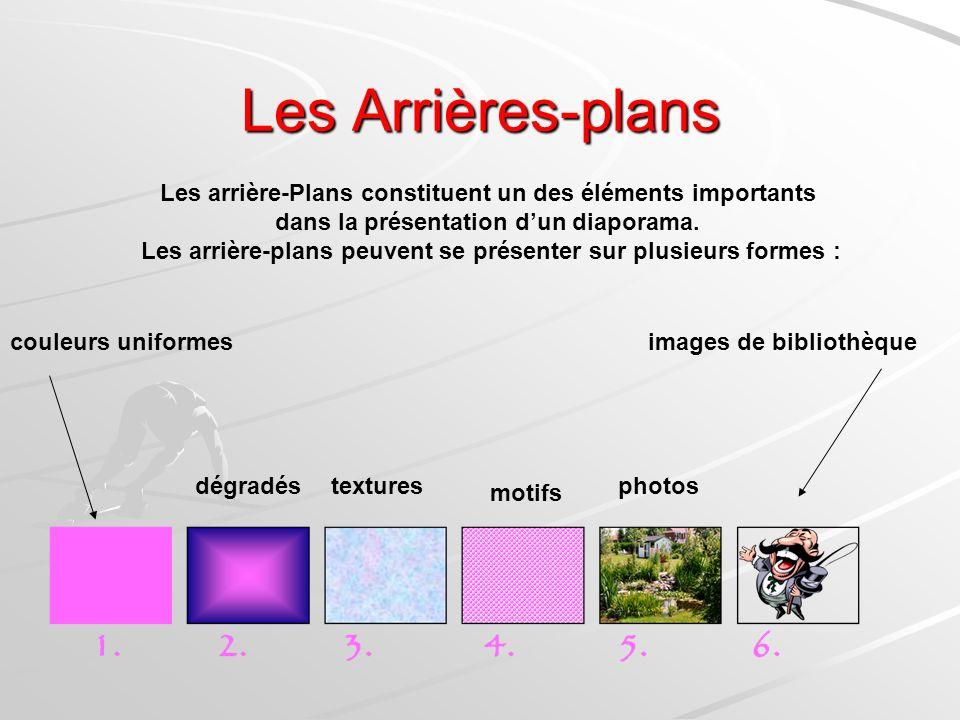 Les Arrières-plans Les arrière-Plans constituent un des éléments importants. dans la présentation d'un diaporama.